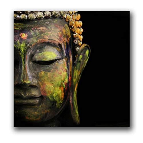 Poster Boeddha hoofd kunst canvas muurschildering linnen schilderij woonkamer decoratieve afbeeldingen op doek aan de muur 40x50cm