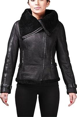 Women's Short Black Vintage Merino Sheepskin Aviator Leather Jacket (UK-16 US-12)