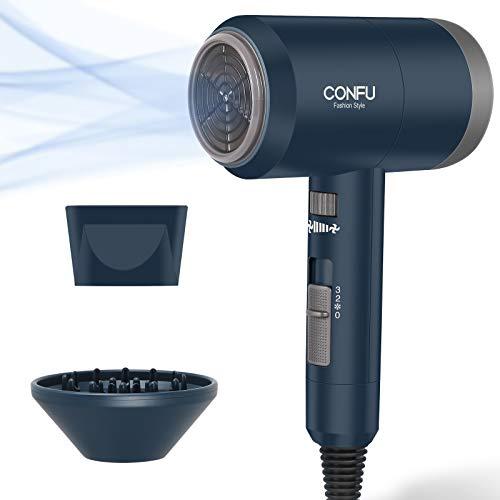 CONFU Fön Ionen Haartrockner 1800W Leicht Föhn mit Stylingdüse Diffusor Haarfön 3 Heizung und Geschwindigkeitsänderungen Konstante Stufe DC Motor dunkelblau