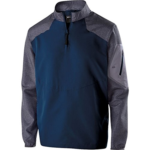 Augusta Sportswear Holloway Mens Aero-Tec 1/4-Zip Raider Pullover Jacket Navy/Grey XL