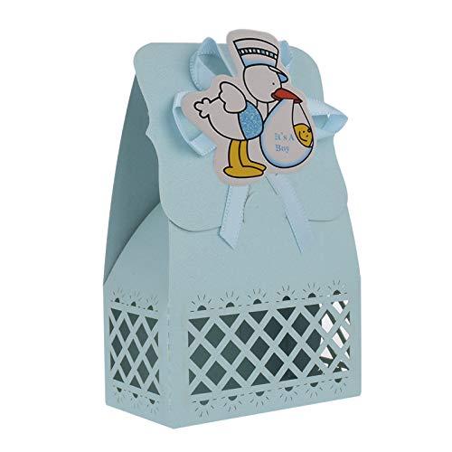 FLOWOW 24 Blu Anatra Scatola portaconfetti scatolina portariso bomboniera segnaposto per Compleanno Battesimo Comunione Bimbo Bambino Nascita Natale