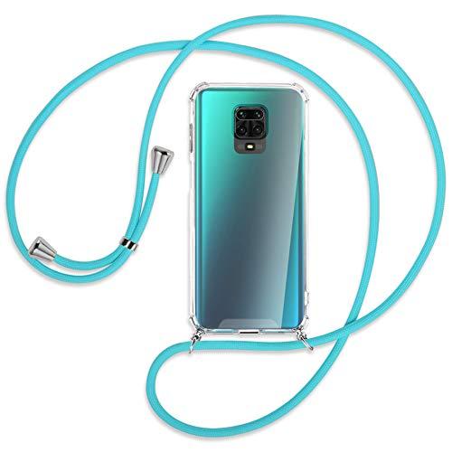 mtb more energy® Collar Smartphone para Xiaomi Redmi Note 9s, Note 9 Pro (6.67'') - Turquesa - Funda Protectora ponible - Carcasa Anti Shock con Correa para Hombro