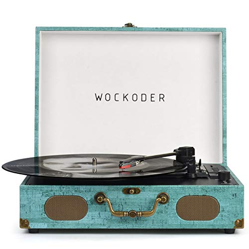 Record Player Vinyl player Turntable Bluetooth USB with Built in Stereo Speakers Suitcase Design Retro Vintage Wireless 3 Speed Vintage Belt-driven Phonograph Support SD RCA Out AUX in Cyan Blue