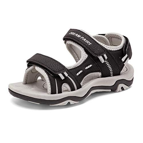 DREAM PAIRS Big Kid 170891_K Black Light Grey Fashion Athletic Sandals Size 6 M US Big Kid
