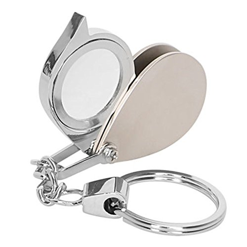 maxgoods 8X Mini Portable Folding Metal Magnifier Loupe Keychain Key Ring Magnifying Eye Glass Lens