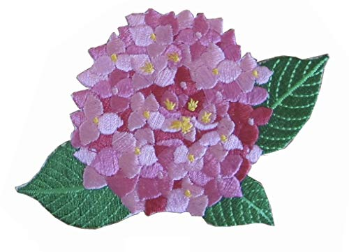 "ETDesign #E05706B Mophead, Snowball Hydrangea Flower Embroidery Appliqué Patch - Pink (4"" by 2 3/4"" inch)"