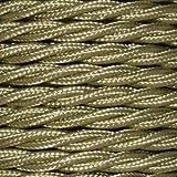 Cable eléctrico Vintage trenzado en PVC. Bobina de 5 metros de 2 núcleos x 0,75 mm de sección en color Nugget