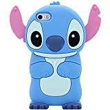 iPhone SE Case, Cute 3D MC Fashion American Cartoon Stitch Shockproof and Protective Silicone Phone Case for iPhone 5/5S/SE (Blue)