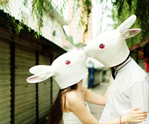 tytlmaske Weiße Reizende Kaninchen-Maske,Cosplay Tiervollkopf-Maske,Spielzeug Für Halloween Oder Weihnachtsfest