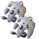 2 Pack Classic N64 Controller for PC Games, kiwitatá N64 USB Wired Remote Gamepad Joystick Controller for Window XP 7 8 Mac Raspberry Pi Gray