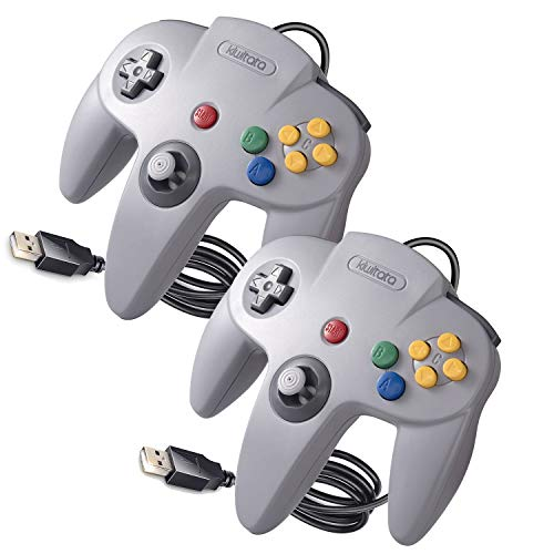 Classic N64 USB Controller 2 Pack, kiwitatá N64 Wired PC Remote...