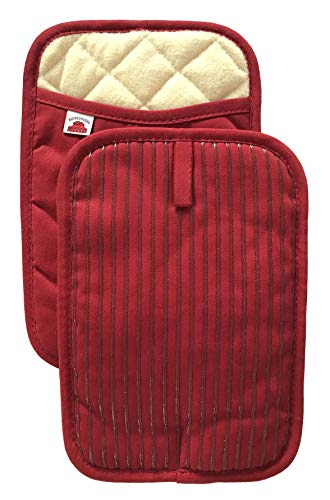 Big Red House Pot Holders, with The Heat Resistance of Silicone and Flexibility of Cotton, Recycled Cotton Infill, Terrycloth Lining, Set of 2 Red