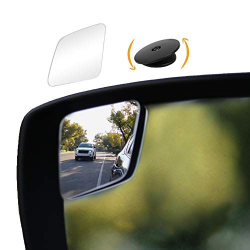 """""""Rhombus 4"""" Blindspot Mirror by Safe View Company - Safer Lane Changes, Frameless Design, HD Glass, Convex Mirror Seamlessly Contours to Your Car's Side Mirror, Easy Installation (63x50mm) (2 Pack)"""