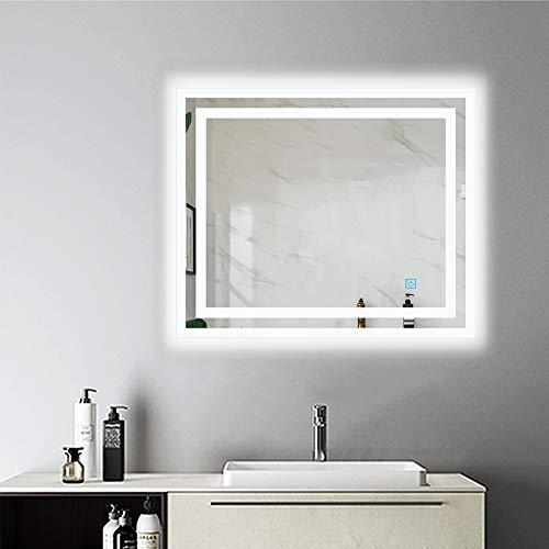 AicaSanitär Wandspiegel mit Beleuchtung 60×50 cm Touch, Anti-BESCHLAG, Kaltweiß, CE Norm, LED Bad Spiegel Badmöbel Sonnelicht Serie
