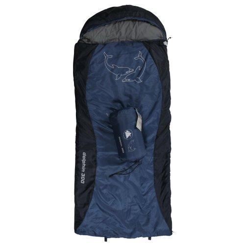 10T Kinderschlafsack DOLPHIN 180x75 cm XL Deckenschlafsack 300g/m² Delphin Schlafsack Blau/Schwarz