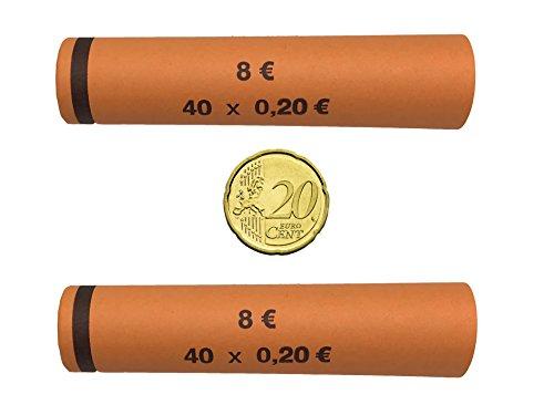 3706 MÜNZHÜLSEN - Münzrollenpapier vorgefertigt und gerollt für 20 Cent (128er Pack) A