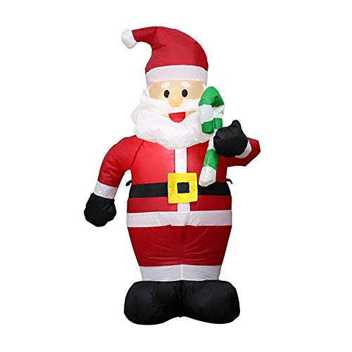 Inflatables Santa Claus - Holding a Cane 4Ft Christmas Outdoor Decoration - Built-In LED Light with Ground Pin, Ideal for Xmas Outdoor Indoor Garden