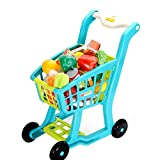 Gecau Pretend Shopping Cart Toy, Toy Groceries Kit for Kids, Pretend Play Vegetables and Fruit Set Gift for Toddler Boy Girl, Shopping Cart Toys Educational Learning Toy