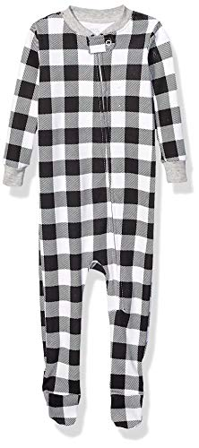 Amazon Essentials Kid's Baby and Toddler Zip-Front Footed Sleeper, Black and White Buffalo Check, 4T