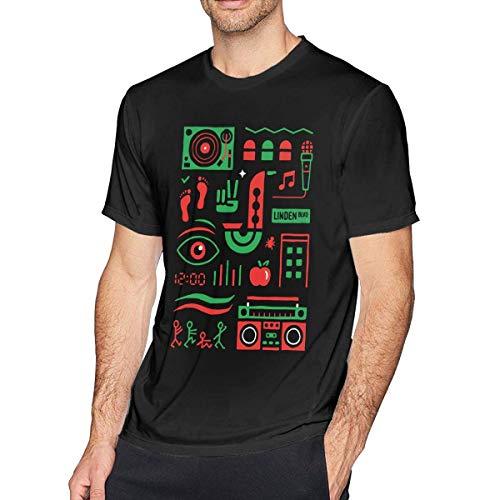 Qin Tong Herren Kurzarmshirt,T-Stücke,Tribe Called Quest Men's T-Shirt Black Funny Baseball Summer Top