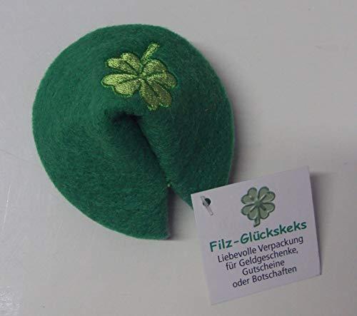 Unbekannt 1 Glückskeks Filz grün Kleeblatt Bestickt Idee für Geld- & Gutscheine ca 7 x 6 cm