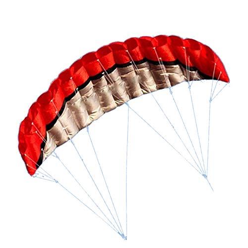 Amplia Truco de Doble línea paracaídas, 2,5 m de Doble línea de Parade de parafoil con Mango 30m Línea con Barra de Control Trenza Trenza de Vela Kitesurf Deporte Juguete (Color: Rojo) Baibao