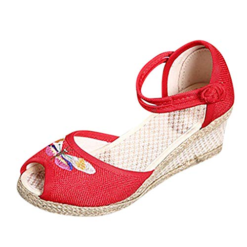 Singles Shoes Sandals for Women Retro Linen Canvas Wedge Round Toe Casual Sandals Walk Shoes Red