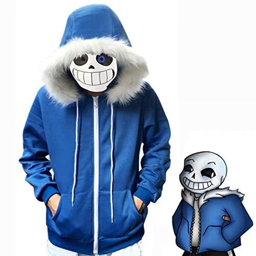 Kuberas Unisex Sans Costume Jacket Coat Hoodies Plush Hooded Zipper Game Cosplay Sweatshirt Outwear Adults