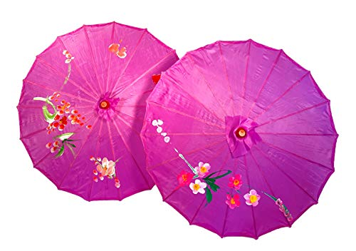TJ Global PACK OF 2 Japanese Chinese Kids Size 22' Umbrella Parasol For Wedding Parties, Photography, Costumes, Cosplay, Decoration And Other Events - 2 Umbrellas (Purple)