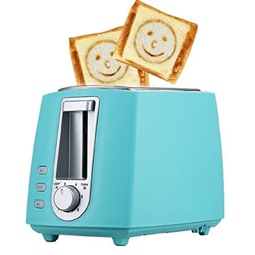BWCX 2 Scheiben Toaster mit 6 Browning Setting Smiley-Muster und kleines Sonnenmuster,Blue