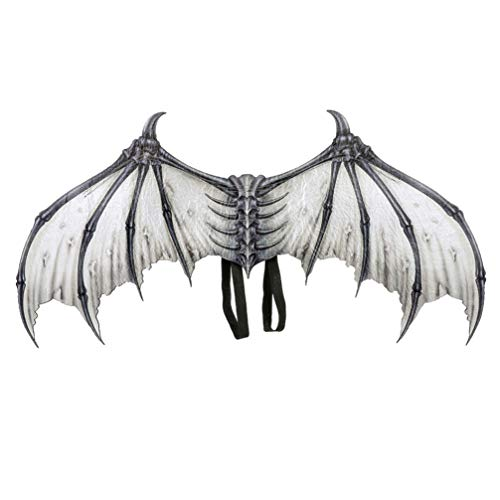 Amosfun Halloween Cosplay Wings Demon Bone Wings with Elastic Straps Dress up Costume Cosplay Accessory for Halloween Mardi Gras Party Decoration (White)