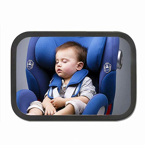 Conpush Rücksitzspiegel für Babys, bruchsicherer Spiegel,Baby Autospiegel, Rückspiegel für Kindersitz,360° schwenkbar, Größe 28 x 18 cm
