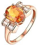 AmDxD no-metal-stamp (Fashion only) oro rosa de 18 K ovalada Orange Sapphire