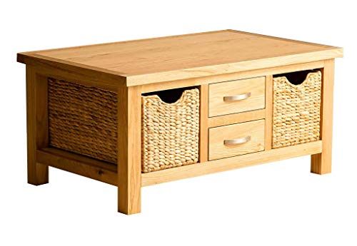 London Oak Coffee Table with Baskets & Storage Drawers   Lacquered Solid Wooden Contemporary Rectangular Living Room Furniture, Fully Assembled, H:42cm W:90cm D:55cm