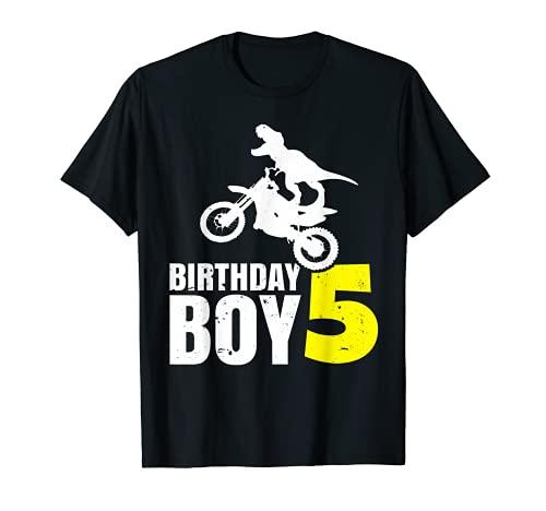 Niños T-Rex 5th Birthday Boy 5 Años Dirt Bike Motocross Camiseta