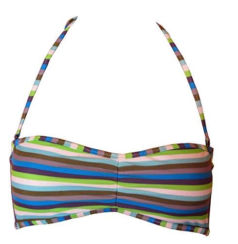 Diesel BFB Coral Reggiseno Damen Bandeau Bikini-Top, blau gestreift, EU 40 (L)