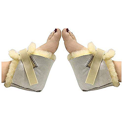 HUAHOO Genuine Medical Sheepskin Heel Protector for Bed sores Sheepskin Rug Sheepskin Protection Boots Sheepskin Foot Protectors (Pair)