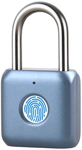 ATITI 南京錠 指紋認証 タッチロック 指紋ロック20枚指紋登録可能 小型 USB充電式 盗難防止 防水 防犯用 青