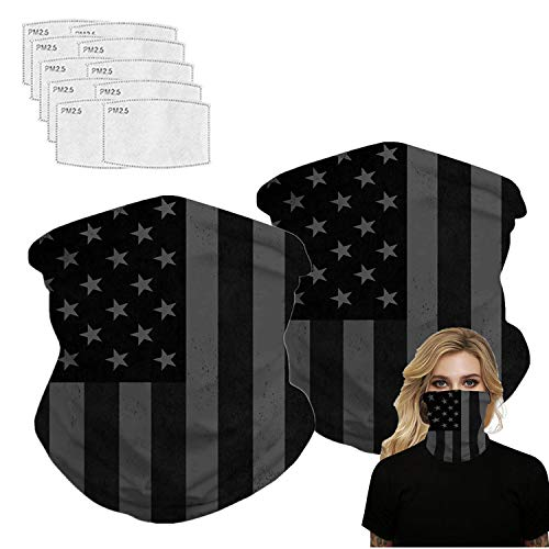 American Flag Printed Bandanas Neck Gaiter with Carbon Filter, Face Cover for Hot Summer Sport Outdoor