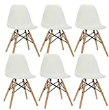 Popfurniture POP Designer Stuhl DSW Esszimmerstuhl, Wohnzimmerstuhl, Bürostuhl, Retro Stuhl aus Kunststoff und Ahornholz (6 Pack, Weiß - 47 X 53 X 83 cm)