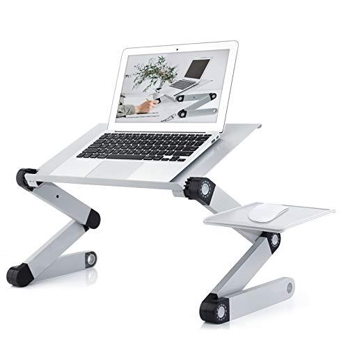 Verstellbarer Laptop-Ständer, Laptop-Schreibtisch mit 2 CPU-Lüftern für Bett, Aluminium-Schreibtisch mit Mauspad, faltbarer Kochbuch-Ständer, Notebook-Halter, Sofa, Betttisch, Büro-Tablett, Silber