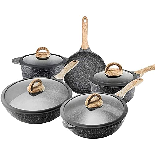 HMBB Juego de utensilios de cocina antiadherentes de piedra de arroz, olla de sopa, wok, sartén | olla de leche | con cubierta de vidrio templado, juego universal de sartenes