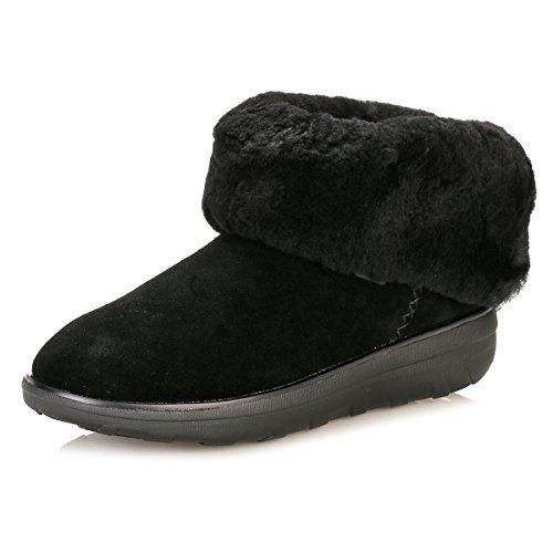 FitFlop Mukluk Shorty 2 Boots, Botas Slouch para Mujer, Negro (Black 090), 36 EU