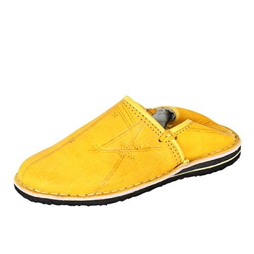 albena Marokko Galerie Unisex marokkanische Schuhe Leder Pantoffel Tafrout (46, Curry)