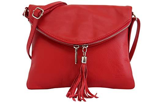Ambra Moda Borsa a tracolla donna Piccola borsa italiana realizzata in morbida vera pella SAVAGE NL610 (rosso)