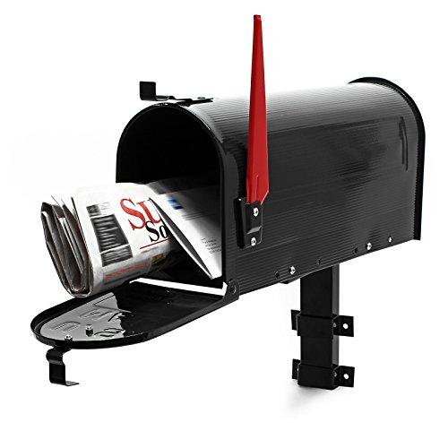US Mailbox Briefkasten Amerikanisches Design schwarz mit passender Wandhalterung