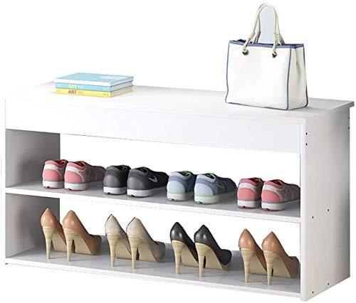 Zapato Banco de Almacenaje Multifuncional sofá Banco de 2 estantes Estante del Armario Conveniente for el Dormitorio, Sala de Estar, Corredor Que soportan el Peso de 150kg 80x24x42cm