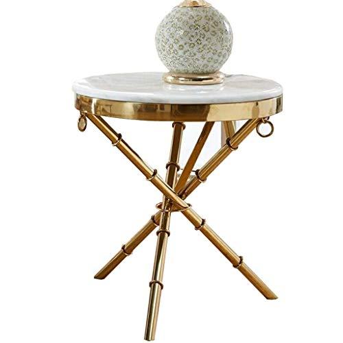CENPEN Marmo Tavolino Elegante Moderno e Minimalista Rotonda in Acciaio Inossidabile Comodino Divano armadietto Laterale