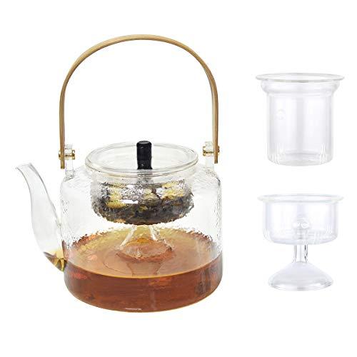 Juego de tetera y infusor de té de cristal con infusor de acero inoxidable para hojas sueltas y té en flor, 1000ML