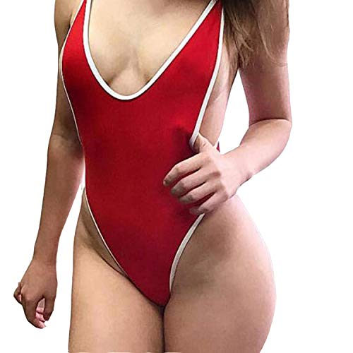 FITTOO Women's Sexy One Piece Swimsuit Deep V Cheeky Thong Monokini Backless Swimwear with Adjustable Straps Red M